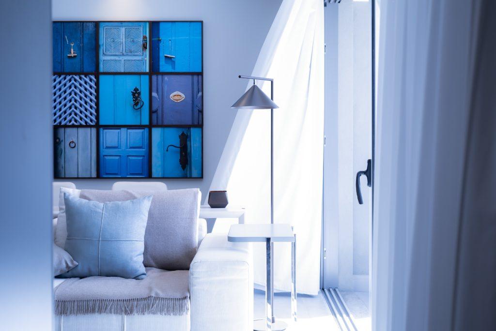 Bright blue interior colors